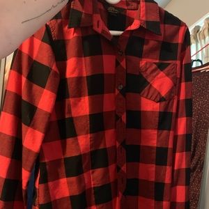 Vintage LL Bean red and black plaid shirt